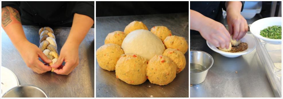 Eri tavoin muotoiltuja leipätaikinoita
